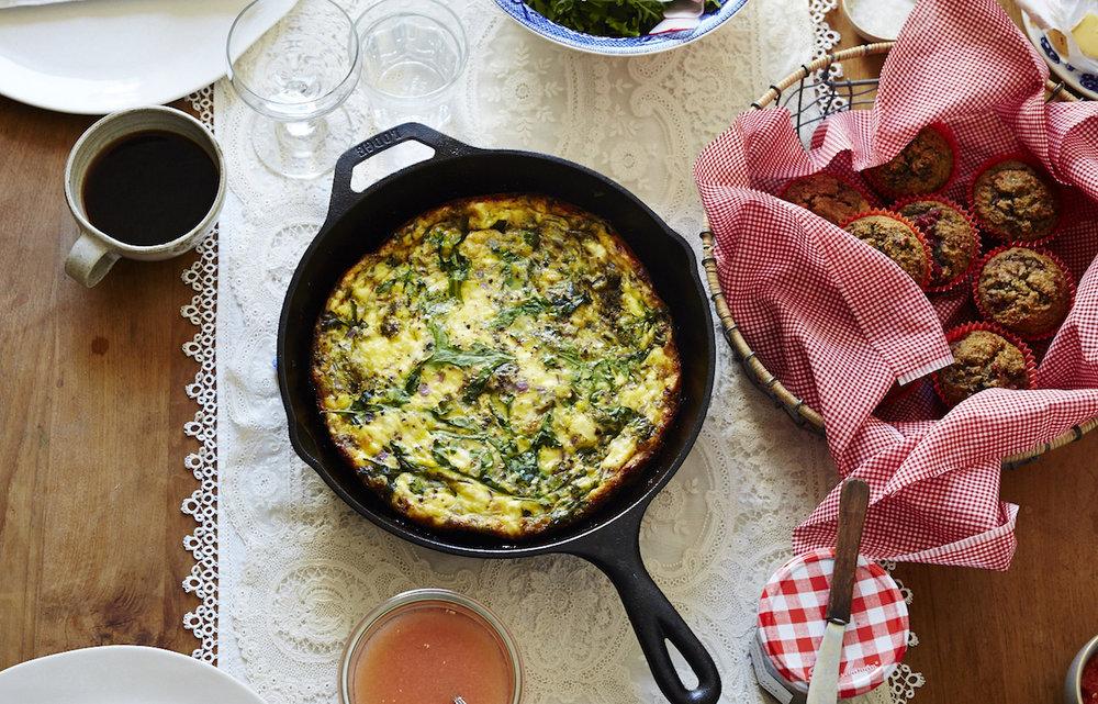 Pistachio Pesto & Goat Cheese Frittata (GF, V)