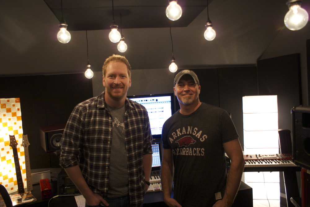 Songwriters Barrett Baber & Kenny Lamb hanging in the control room during the mixing process.
