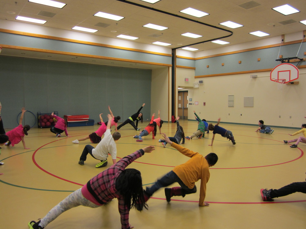 Bonnie working on 'kick-outs' at Ptarmigan Elementary