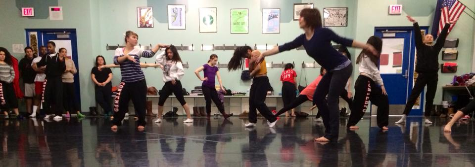 Ashley teaching broadway jazz with East dancers