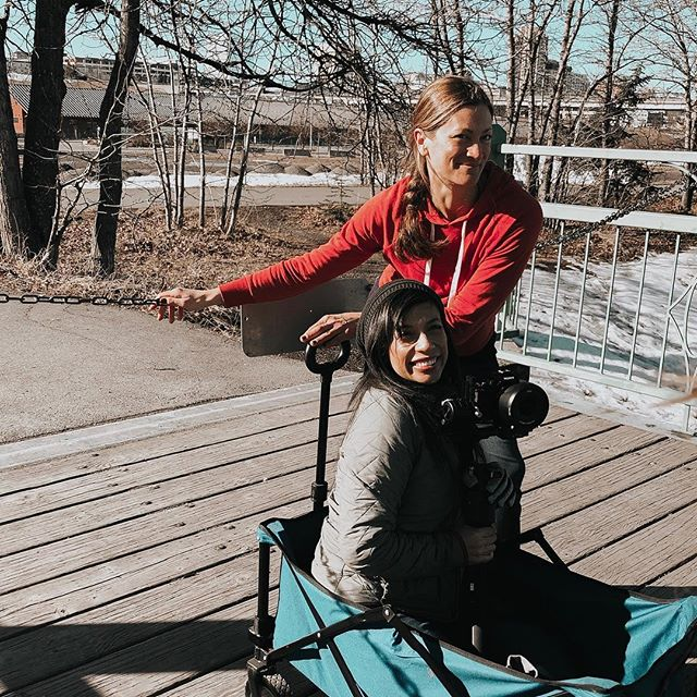Momentum dancers do whatever it takes to get the job done! Dance outside in any temperature? ✅ Film while being pulled in a small wagon? ✅ #dancecollective #liveworkplay #anchoragelife #dancefilm #behindthescenes