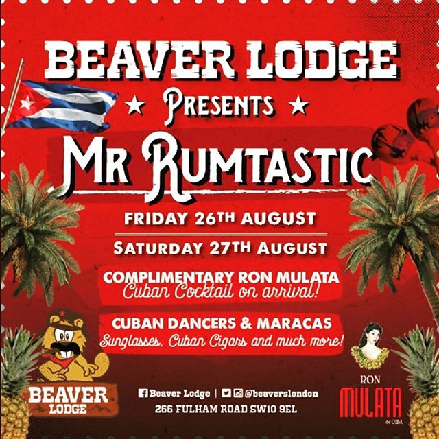 Big bank holiday weekend coming up!!We've teamed up with @beaverslondon for two nights of Cuban Fiesta.. 🇺🇸🇨🇺💃🏻🍹🏝 Complimentary Cuban Cocktail on arrival!  Beaver Lodge Presents - #MRRUMTASTIC  #weekend #rum #cocktails #cuba #london #fiesta