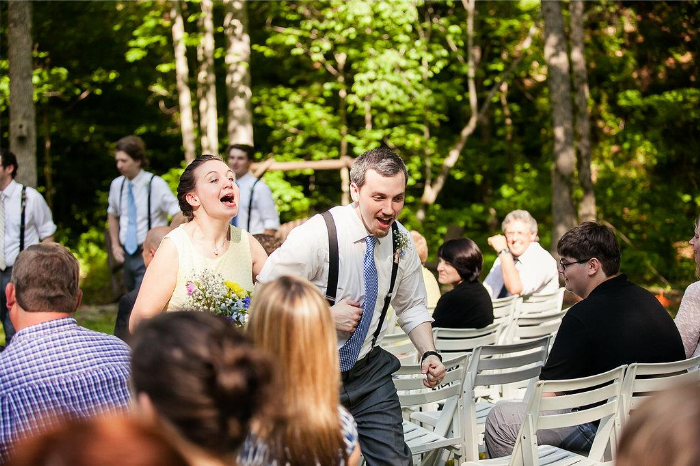 Everyone skipped back down the aisle after the ceremony! It was so joyful and fun!