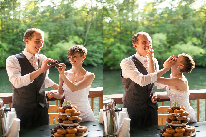 This donut wedding cake was the perfect touch for a colorful, intimate rustic wedding on the Ocoee River in Southern Tennessee. The bride and groom perform a song together during the reception, and the bridesmaids wear colorful mis-matched gowns. Click through to see the rest of the beautiful photos! @paperswalloweve