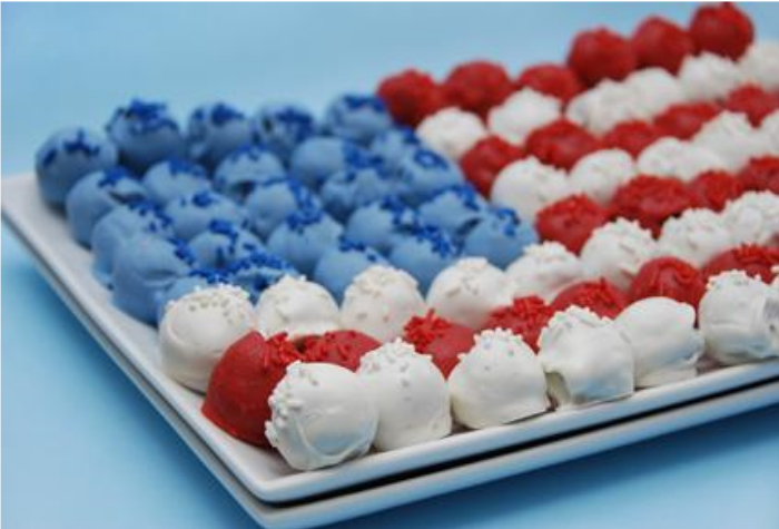 Red, White + Blue Cake Pops by My Juice Cup