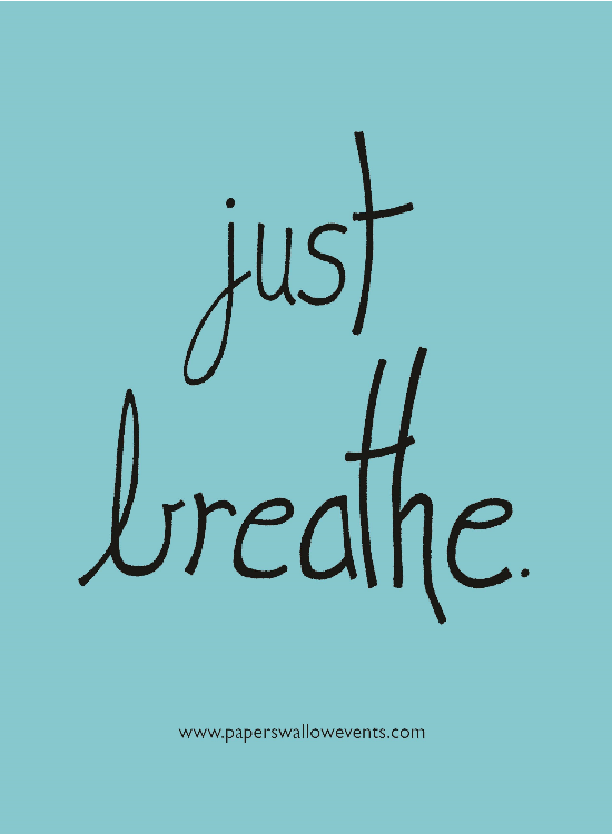Just Breathe Turquoise Printable Quote