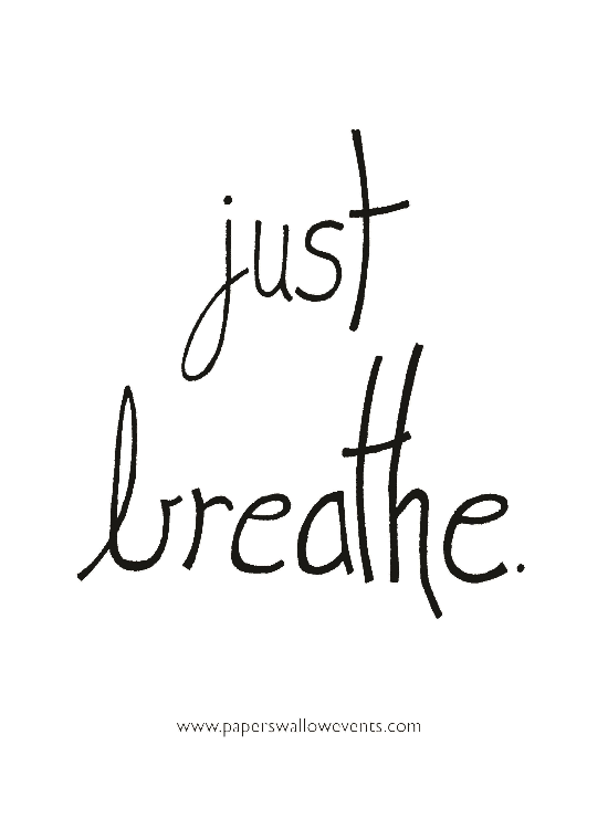 Just Breathe White Printable Quote