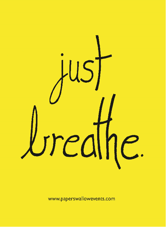 Just Breathe Yellow Printable Quote