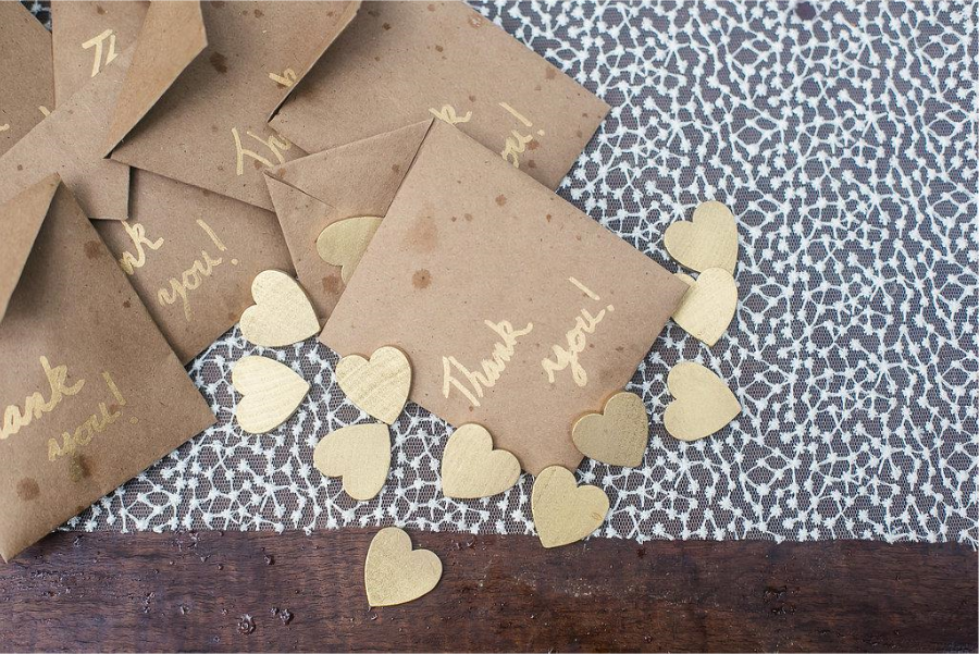 gold heart wedding favors