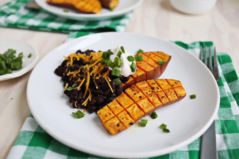 Roasted Sweet Potatoes and Black Beans