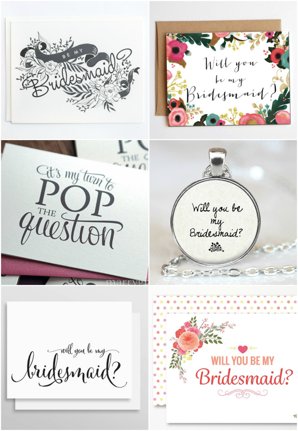 6 Beautiful Bridesmaids Asks - Paper Swallow Events
