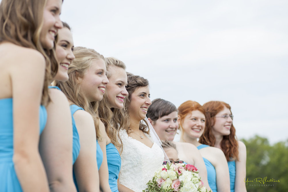 bridesmaids in blue david's bridal dresses.jpg