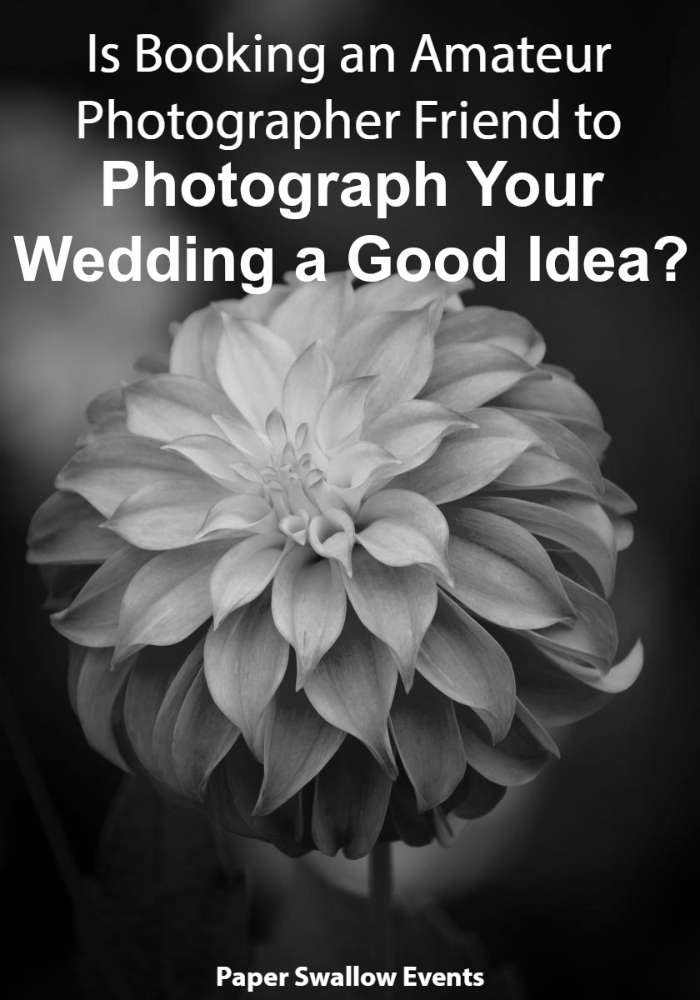 To cut costs on your wedding budget, is it a good idea to book your amateur photographer friend to photograph your wedding? This article talks the pros and cons and things you'll want to consider before taking that leap! @paperswalloweve