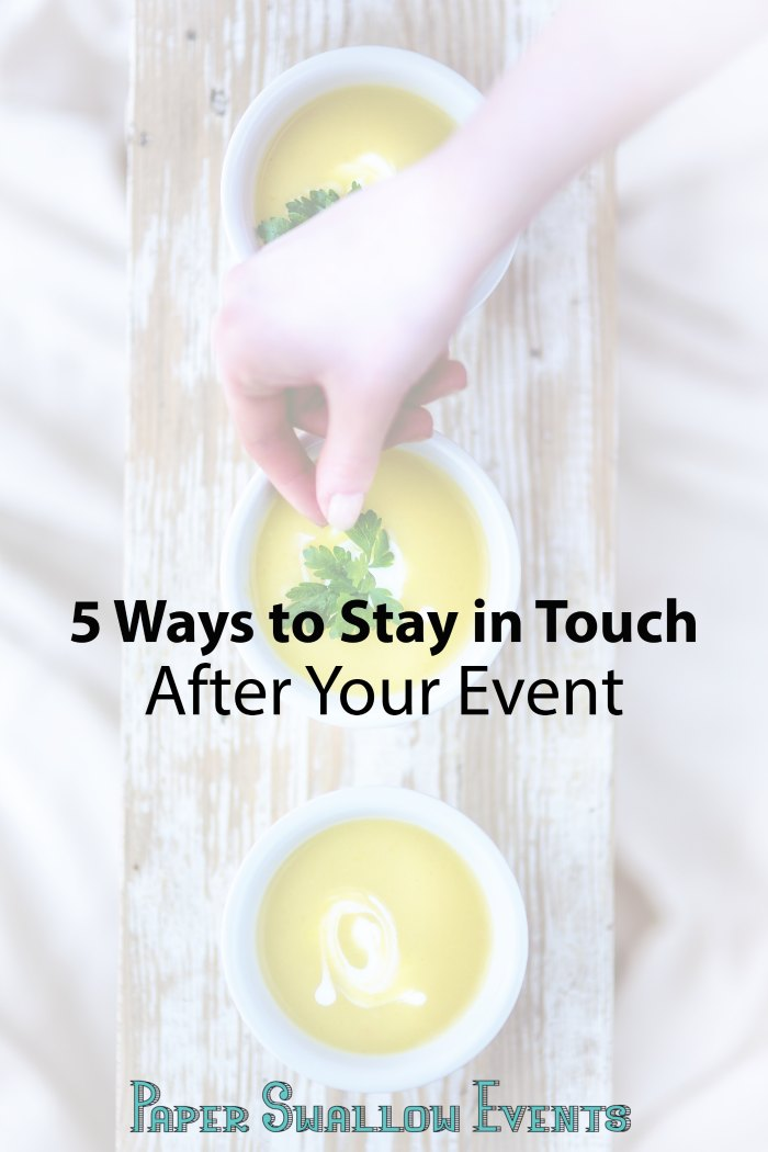 Ever wondered how to keep the momentum from your latest successful party going? Here are 5 tips for keeping in touch with your guests (and helping them make connections!) after your event, whether it's a girl's night, small party, bridal shower, or whatever else you may be celebrating! @paperswalloweve