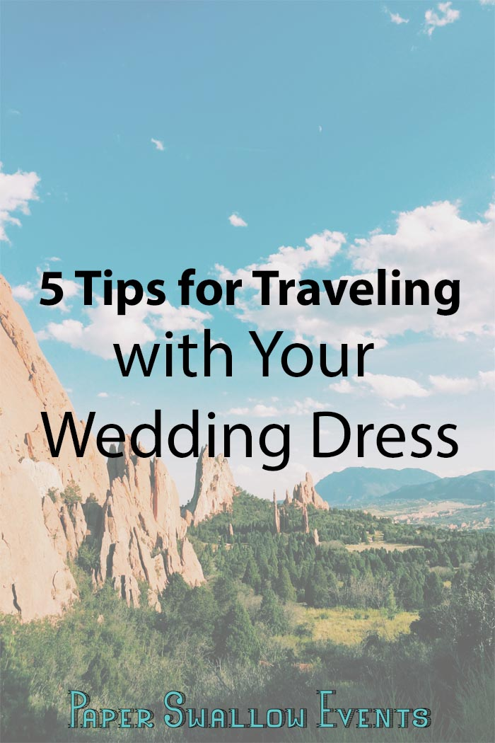 Do you need to travel with your wedding dress? Whether you're taking it on your honeymoon, having a destination wedding, or whatever other reason you might need to travel with your wedding dress, these 5 tips from Paper Swallow Events will make your experience so much easier! @paperswalloweve