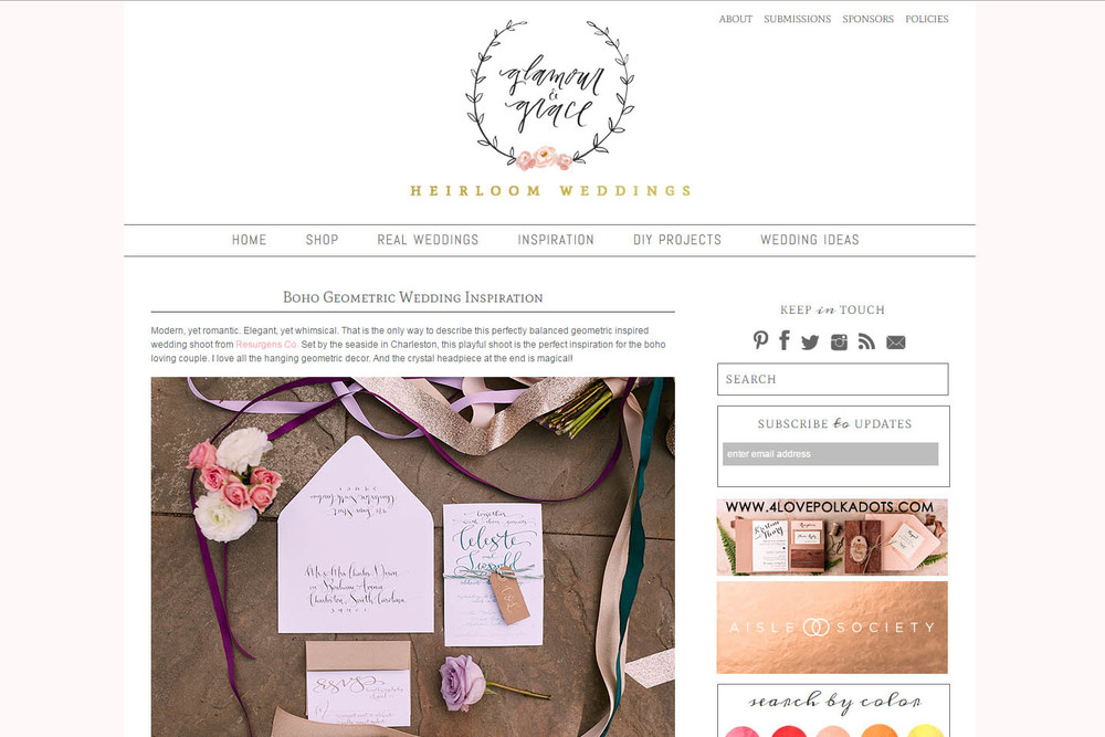 Paper Swallow Events' geometric bohemian wedding inspired styled shoot has been published on Glamour + Grace!