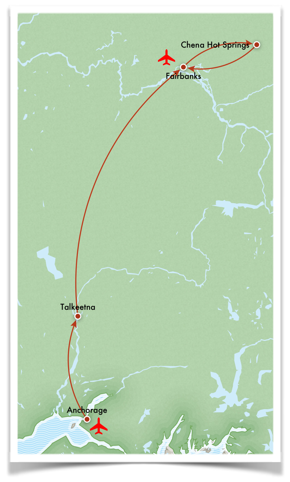 alaska northern lights tour route map