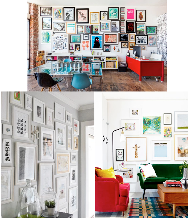 - top photo originally pinned by posterchildprints.com /     photo at right - Oh Joy Studio, designed by Emily Henderson