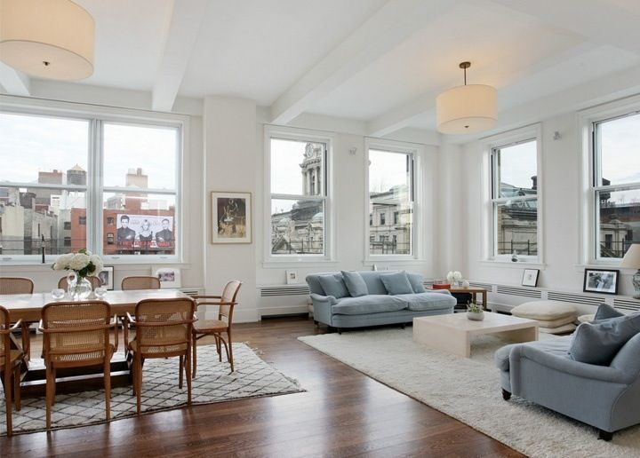 -Sofia Coppola's NY apartment     (For what it's worth, I would move those couches the instant I got my hands on them...they are way too far apart, with one hanging off the back and the other too far forward.  I'm assuming/hoping they were put like that for the framing of the photograph, but you never know.  l am practically twitching at the sight of it).
