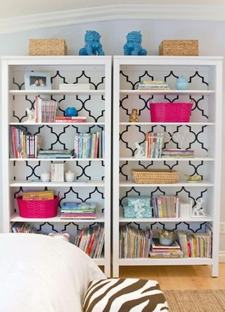 --via diyremodelcenter.com - gives a whole new life to these IKEA shelves