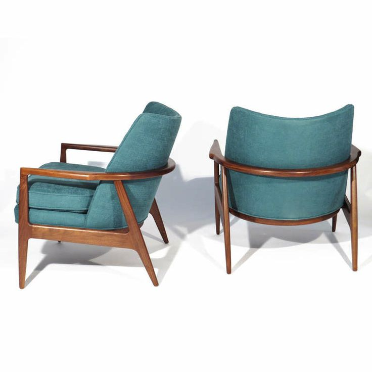 Milo Baughman; Walnut Lounge Chairs for Thayer Coggin, 1965, via 1st dibs