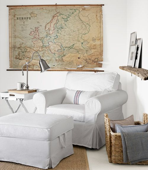 -Ikea chair and ottoman, via Country Living