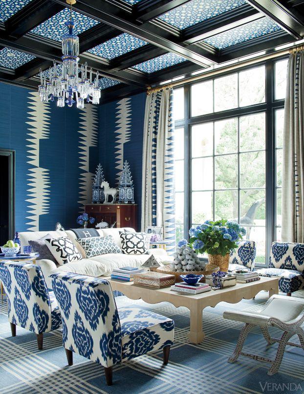 -via Veranda Magazine / Super crazy, but I appreciate the boldness, and love the wallpaper.
