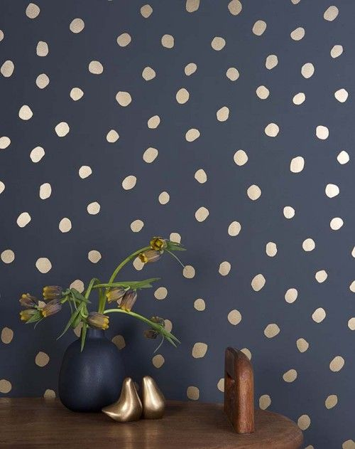 Wallpaper Designs Navy and Gold Metallic Spots Speckles Wallpapers Paper Walls Paint Accents Home Décor Design Plants