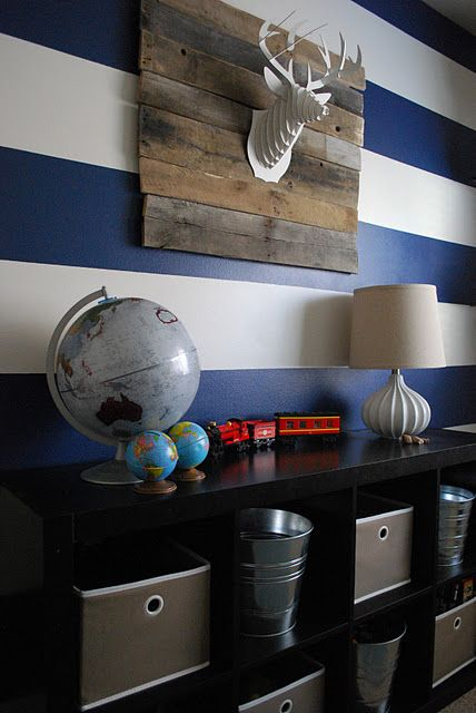 -via  The Shabby Nest  / Wide blue and white stripes make this a fun, modern boy's room!
