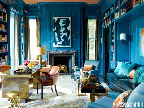 -photo by Eric Piasecki for House Beautiful, designed by Steven Gambrel / Luxurious library!