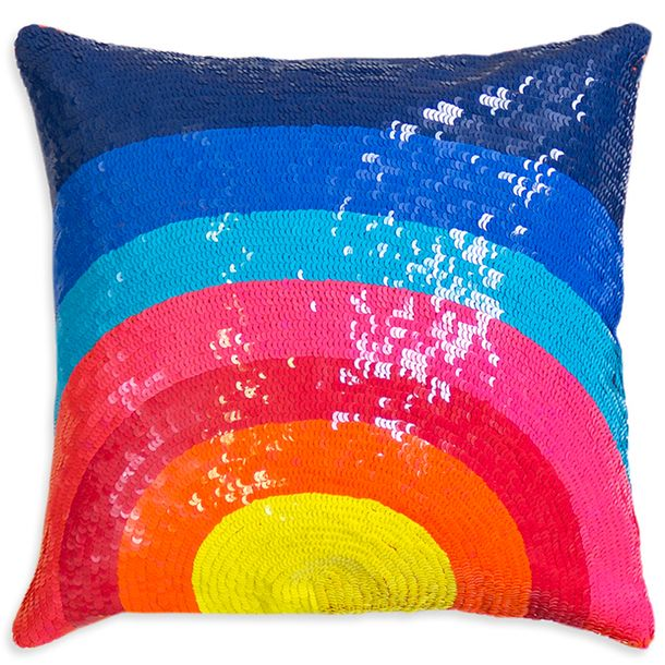-via Jonathan Adler / He definitely doesn't shy away from color! (Rainbow) sequins aren't exactly cozy, but they make a happy statement.