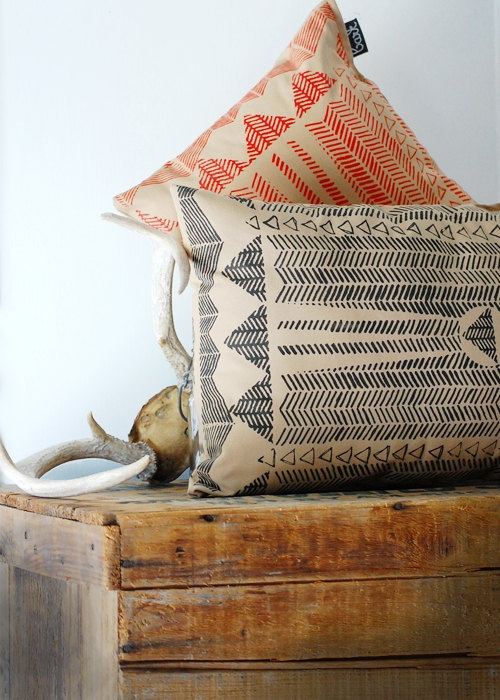 -via Etsy, (Going Hunting - Red and Cornstalk - Modern Print Hand Printed Pillow Cover) - by Simka Sol.