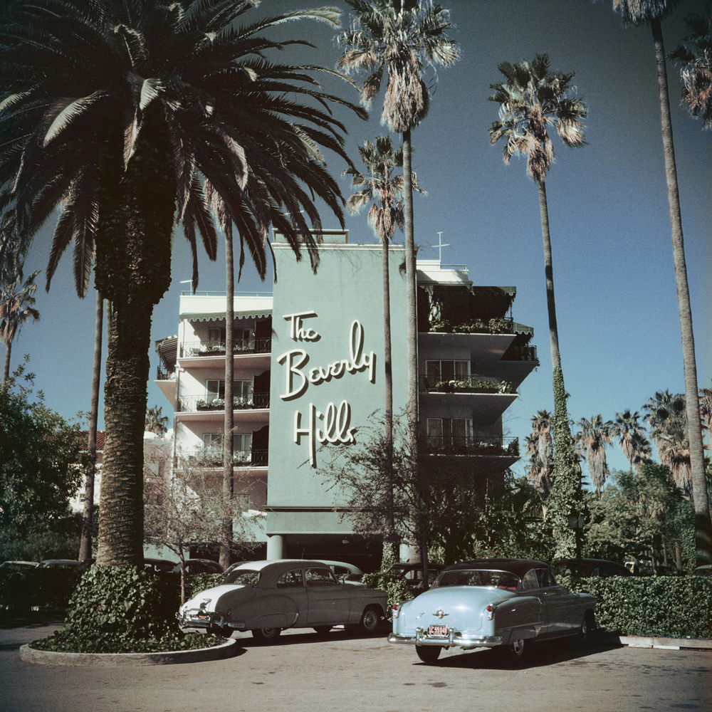 """Beverly Hills Hotel"" (I love the muted colors, the classic cars and the image of the  icon  that is the Beverly Hills Hotel. So chic)."