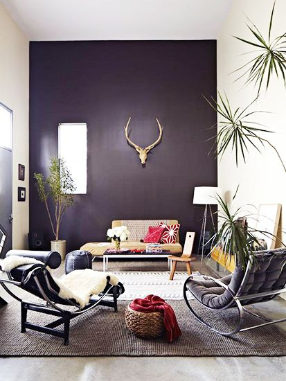 -via Domaine Home / I LOVE that deep purple accent wall! It totally makes the room.