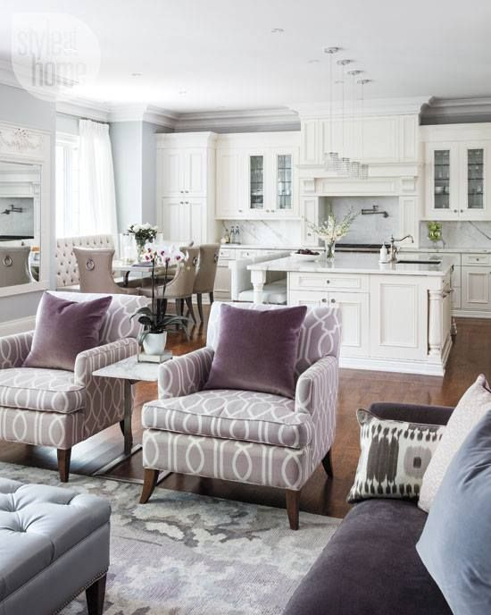 -via homebunch.com / A lovely, traditional kitchen/great room that mixes grays and purples for a nice, warm feel.