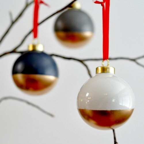 via Suburble - gold-dipped ornaments!