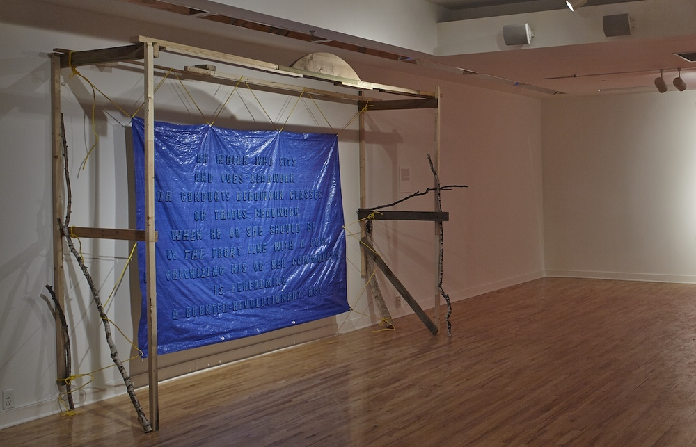 Jimmie Durham 1974, 2014, glass crow beads, tarp, rope, wood. Photos: M N Hutchinson
