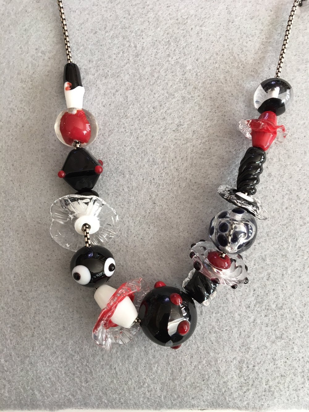 "Handmade Glass Necklace, Red and Black, 24"", Silver Plate Chain, Sterling Clasp"