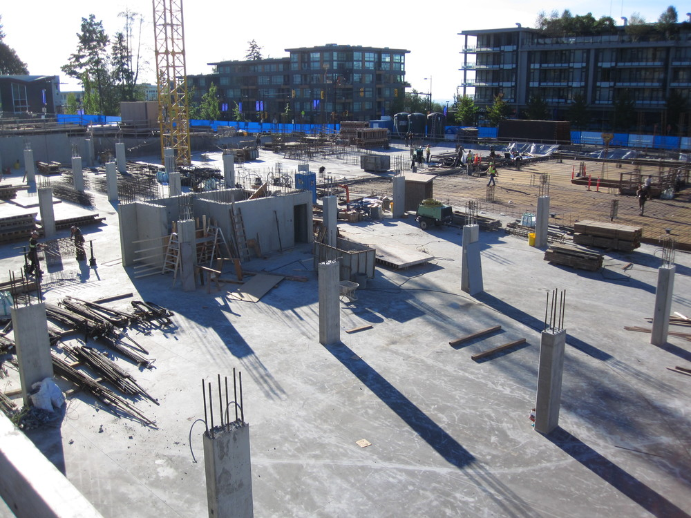 Starting to come out of the ground at CentreBlock project at SFU Univercity, 3 Oct 2014