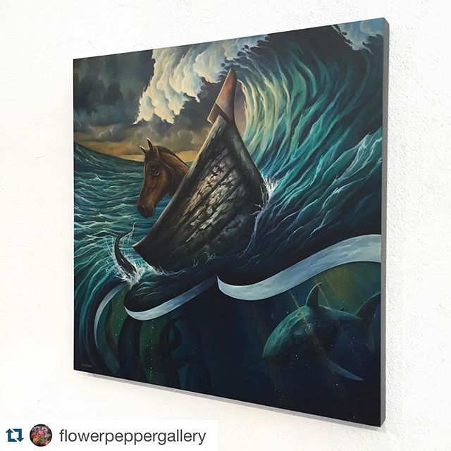 "#Repost @flowerpeppergallery with @repostapp. ・・・ Installation photo of Graham Curran's remarkable painting, Untrodden 🐴⚡️🌊 The center piece of Graham's newest collection now featuring in Nature's Tale at Flower Pepper! ~~~ Untrodden: // adjective (of a surface) not having been walked on. ~~~ Come see these phenomenal new works by the local artist and experience what he has discovered below the surface 🌀 Our door will be open until 7pm! ~~~ This original painting is a 30""x 30"", Acrylic on Wood and available for purchase at our gallery location or directly on our website at http://www.flower-pepper.com/shop/original-art/untrodden-by-graham-curran/ (Link in bio) ~~~ #flowerpeppergallery #grahamcurran #untrodden #naturestale #original #painting #acrylic #trekell #nature #horse #shark #octopus #sea #ocean #mystery #belowthesurface #LAart #LAartist #artbews #artscene #onlyinoldpas #oldpas #pasadena"