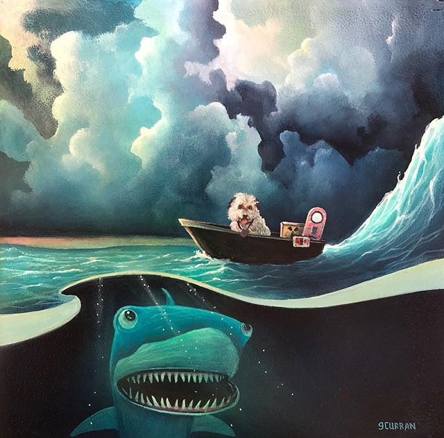"""Jaws 19"" Inspired by the Back to the Future Trilogy. For @galleries1988 annual Crazy4Cult show. #grahamcurran #gallery1988 #crazy4cult"