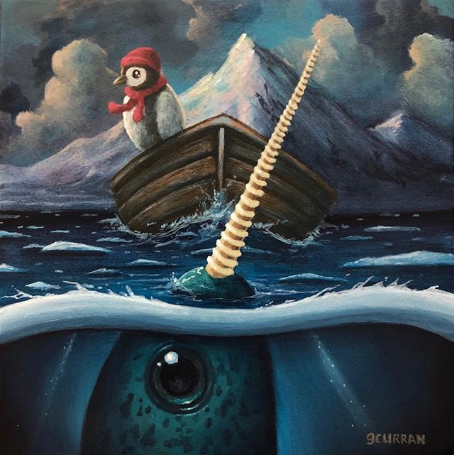 "New piece ""Gnarly Narwhal and the Prosperous Penguin"" for @galleries1988 ""Animal Kingdom show. 5x5 inches, Acrylic on panel. #grahamcurran #gallery1988 #animalkingdom"