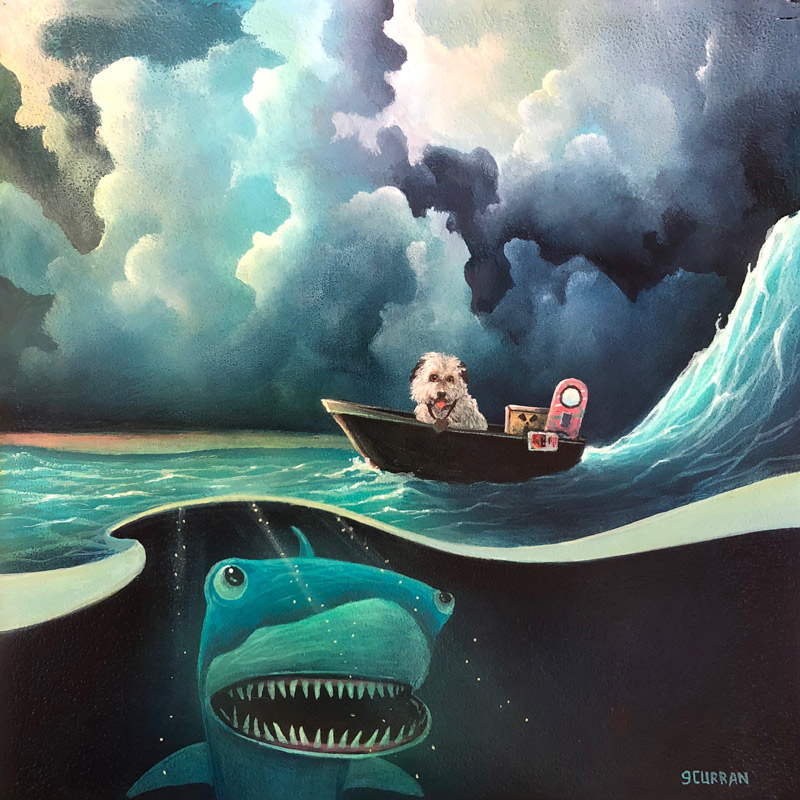 Jaws 19   7.5 x 7.5 inches  Acrylic on wood  2017