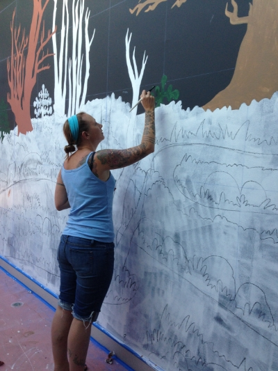 Painting my first mural at the Museum of Art and History in October of this year.