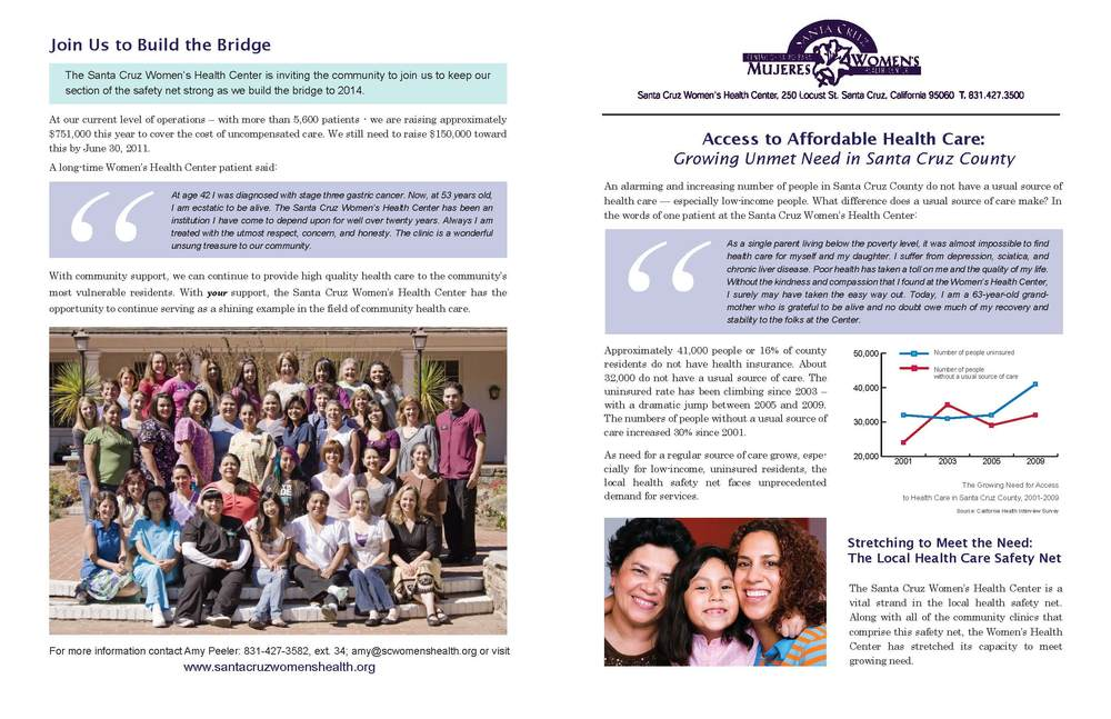 Newsletter Design, Santa Cruz Women's Health Center