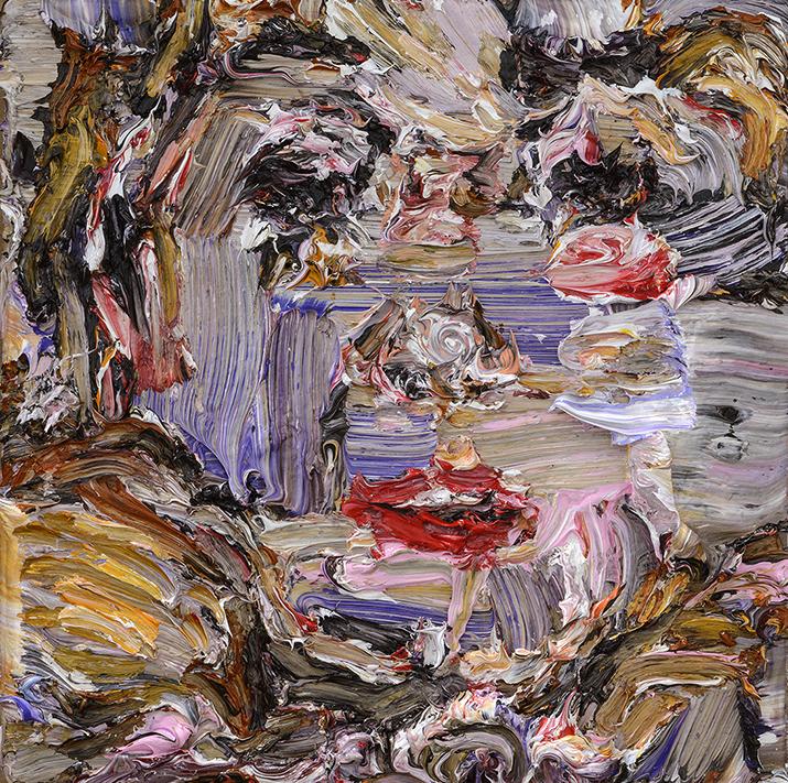 """Sticky , 2015  Oil on wood, 8x8"""""""