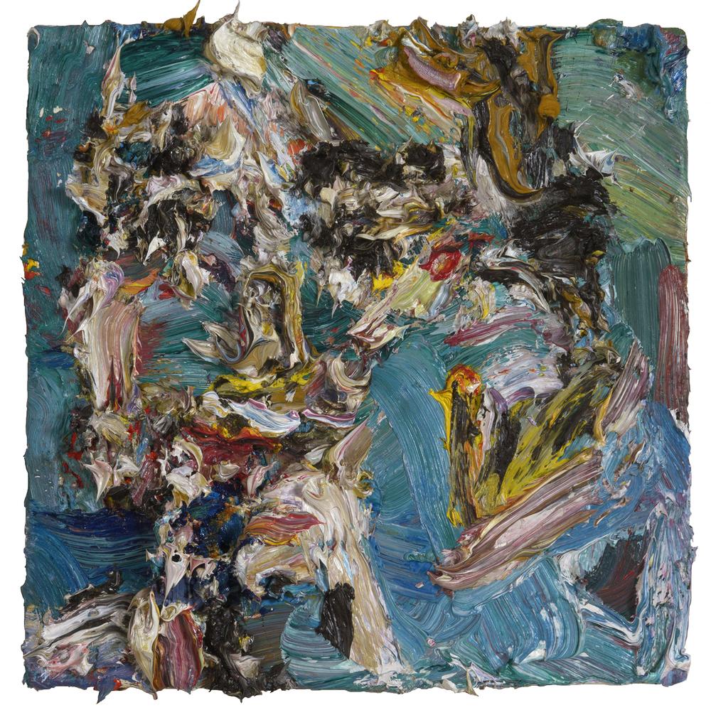 """Pablo's Bones, 2015  Oil on panel, 8x8"""""""