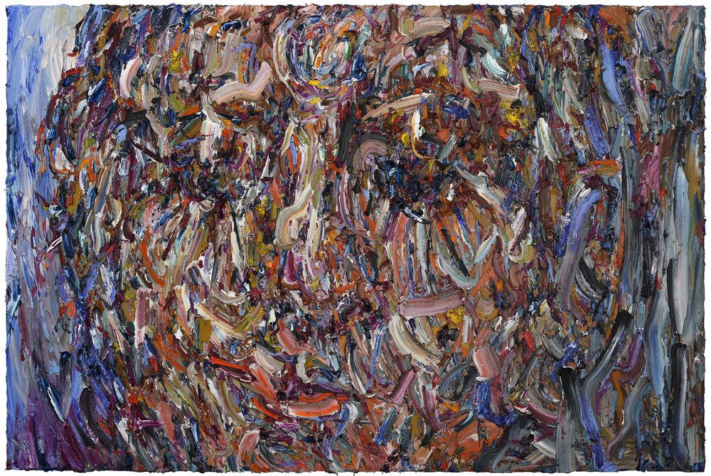 """Blue Velvet,  2017  Oil on panel, 48x72"""""""