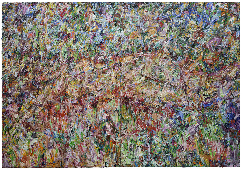 """No Shrinking Violet,  2017  Oil on canvas 100x144"""" (diptych)"""