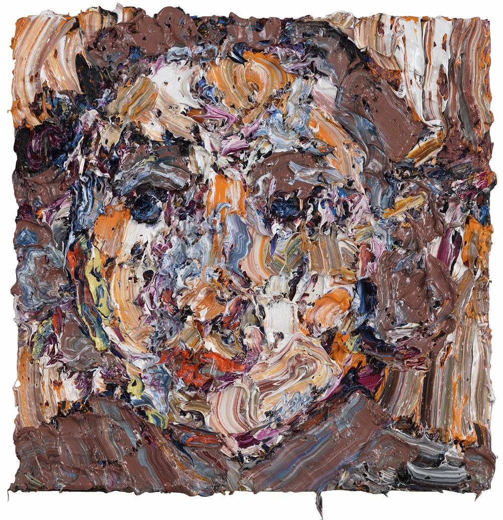 "Follow me Down,  2017  Oil on canvas, 18x18"""